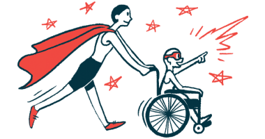 rare disease clinical trial participants | Neuromyelitis News | Illustration of woman in cape pushing child in wheelchair