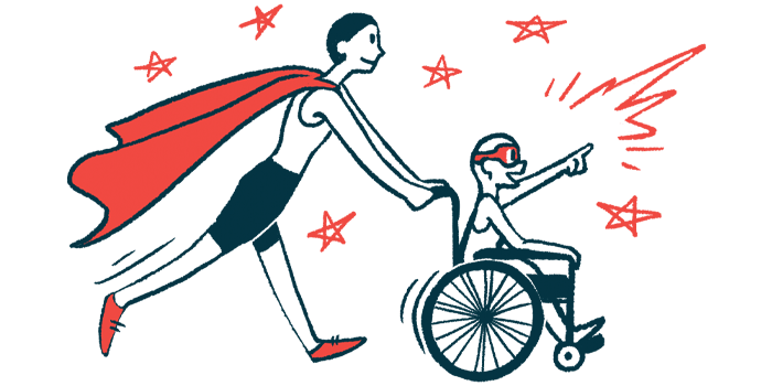 rare disease clinical trial participants   Neuromyelitis News   Illustration of woman in cape pushing child in wheelchair