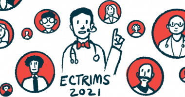 Enspryng   Neuromyelitis News   Clinical trials   Illustration of health professional speaking online for ECTRIMS 2021