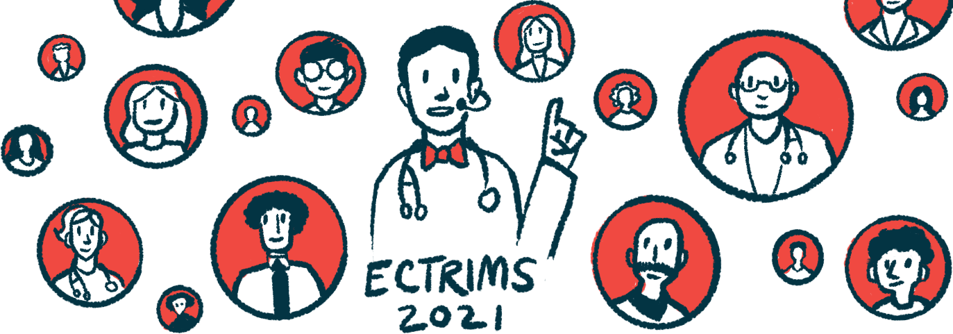 Enspryng | Neuromyelitis News | Clinical trials | Illustration of health professional speaking online for ECTRIMS 2021